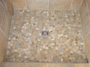 pebble tile Madera install